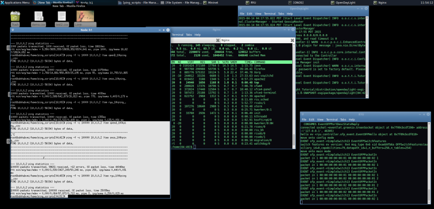 Pinging with 100,000 packets on all controllers; the output on terminal.